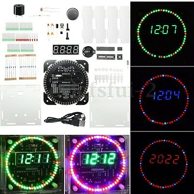 DIY DS1302 Rotating LED Electronic Temperature Digital Clock Kit + Clear Box