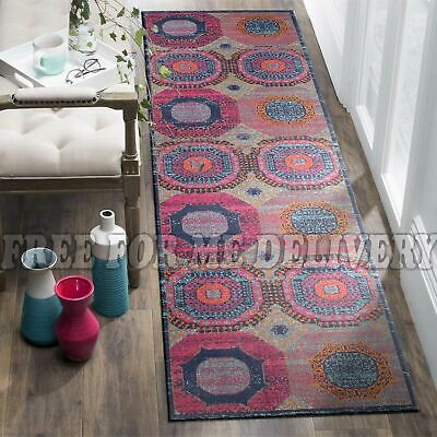 TALISH CIRCLES VINTAGE PERSIAN LOOK RUG RUNNER 80x400cm **FREE DELIVERY**