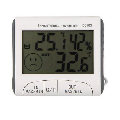 LCD Digital Thermometer Moisture Meter Wired Temperature with Sensor White B4B9
