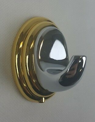 Bradley Avalon Single Robe Hook in Chrome & Gold - Bathroom Accessories