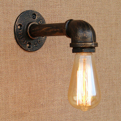 Steam Punk Iron Rust Water Pipe Retro Wall Sconce Lamps Fixture Lighting Lights
