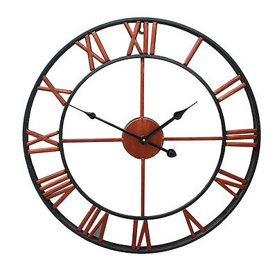 Large Outdoor Garden Wall Clock Big Roman Numerals Giant Open Face Metal 7634HC