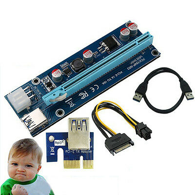 USB3.0 PCI-E Express 1x to 16x Extender Riser Card Adapter SATA 6Pin Power Cable