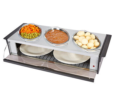 Buffet Hostess Server Food warmer with 3 Heat Resistant Dishes Silver Black