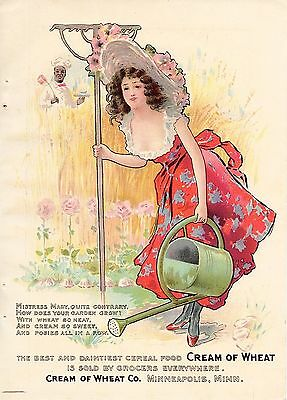 1902 Color Cream Of Wheat Ad-Mistress Mary