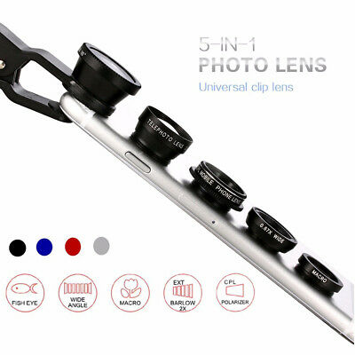 5in1 Cell Phone Camera Lens Clip Kit Fisheye Wide Angle Macro 2.0X Telephoto CPL