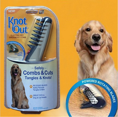 Pet Grooming Flea Comb Electric Black Grey Dog Cat Knot Out Hair Trimmer Tangles