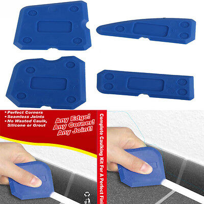 4 Caulking Tool Kit Sealant Silicone Grout Removal Finishing & Cleaning Set Blue