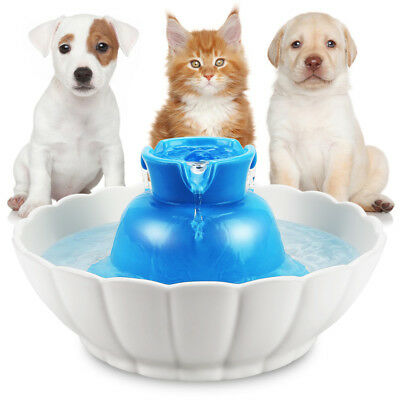 Ceramic Automatic Electric Lotus Pet Water Fountain for Dog Cat Drinking 2.1L