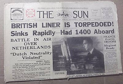 1939 The Sun ~ Sydney ~ 'british Liner Torpedoed' ~ Full  Newspaper 14 Pages