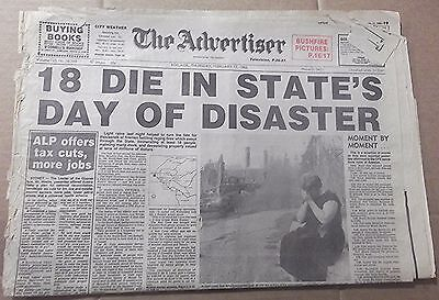 1983 The Advertiser~ Adelaide '18 Die In State's Day Of Disaster'  8 Pages