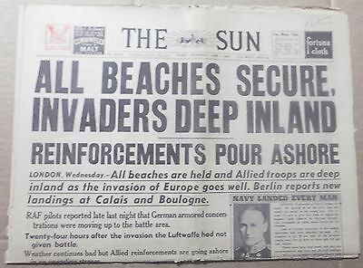 1944 The Sun ~ Sydney ~ D Day ~ 'all Beaches Secure' ~ Full Newspaper 16 Pages