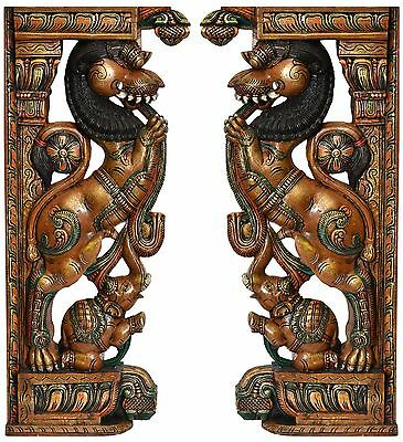 Pair of Yali Wooden Bracket Corbel painted Hindu Temple Sculpture Statue Handmad