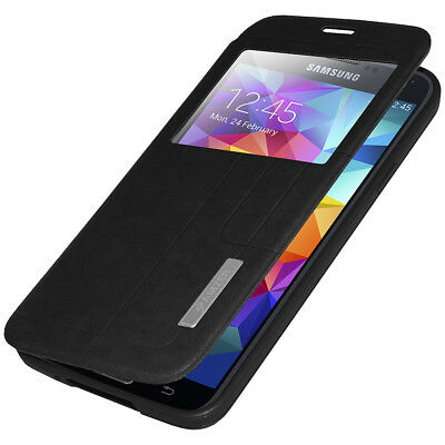 Flip Case Stand Cover With Swipe Window For Samsung Galaxy S5 Sm-G900A - Black