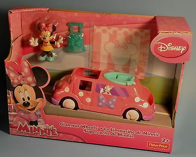 Disney Fisher Price Minnie Mouse BOW-TIQUE Glamour Wheels Limosine Car Figures