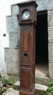 Beautiful Ancient Heavily Carved Handmade Antique French Oak Long Case Clock.