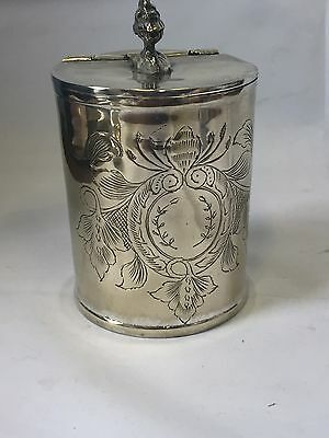 Antique Victorian Round Silver Plated Tea Caddy Engraved