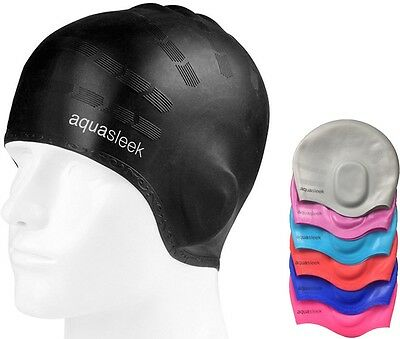 Aquasleek - Swimming Swim / Hat cap Silicone Adult Pool - waterproof new unisex