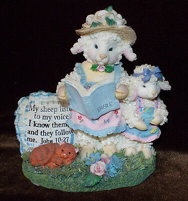Sheep reads Biible to lamb figurine religious Christian World Inc Mark Stevens