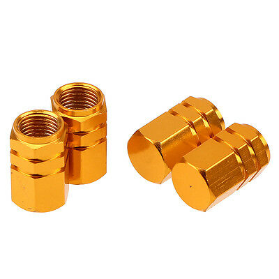 4x Gold Tire Valve Caps Wheel Stem Air Dust Covers Caps for Car Auto Motorcycle