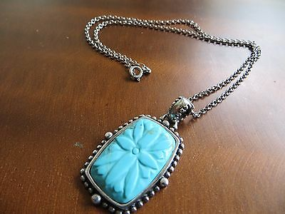 Sterling Silver Turquoise  Carved Stone Pendant Signed 925 A Design Necklace