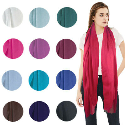 Uk Seller Ladies Womens Long Plain Fashion Scarf Neck Scarves Chiffon Shawl Wrap
