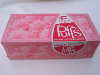 Vintage Pink Puffs 200 Count Floral Decorator Box Facial Tissues Full Unopened