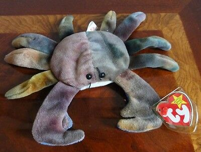 TY BEANIE BABIES BABY CLAUDE the Multi Color CRAB MWMT DOB SEPTEMBER 3 1996 PE