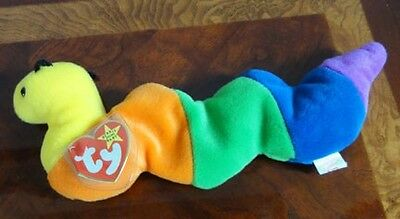 Ty Beanie Babies Baby Inch Bright Multi Color Worm Mwmt Dob 9-3-95 Style 4044