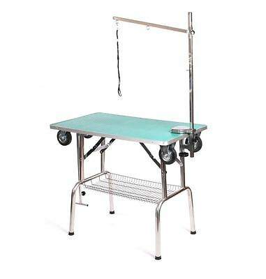 Pedigroom dog pet grooming mobile portable show table with wheels arm noose gr