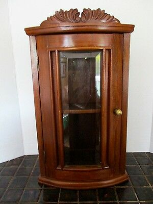 Lovely Antique WALNUT CABINET Beveled Glass -- ready to hang!  GORGEOUS