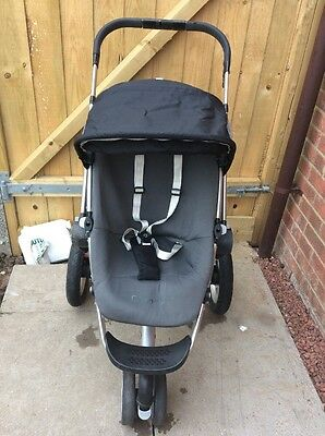 Quinny Buzz Black & Grey Full Seat Unit ONLY With Newborn & Xl Cover, Hood  VGC