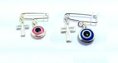 Lucky evil eye hollow cross safety pin - protection for baby