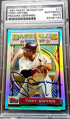 TONY GWYNN Signed 1993 Topps Finest REFRACTOR Card #77 PSA/DNA Auto - RARE!!