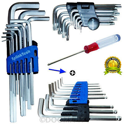 Extra Long L-Shape Tamper Proof Torx Star Hex Allen Metric Key Wrench Tool Set