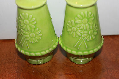 Vintage Pair of green Glass Salt & Pepper Shakers daisy basket pattern