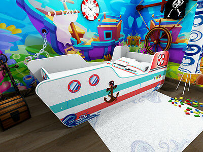 Childrens Bed Toddler Kids With Foam Mattress...boat
