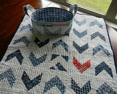 Handmade Nautical Baby Quilt & Coordinating Quilted Basket, Red White Blue Green