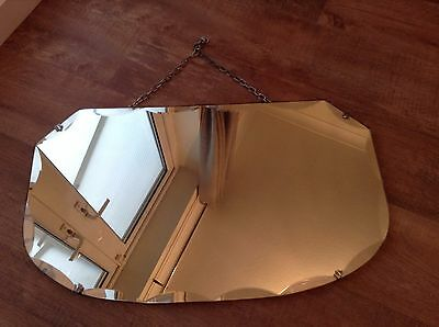 Large vintage retro bevelled edge mirror with chain