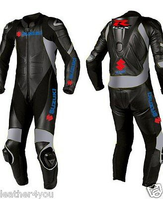 Black Suzuki Motorcycle Leather Suit Motogp Motorbike Leather Jacket Trouser