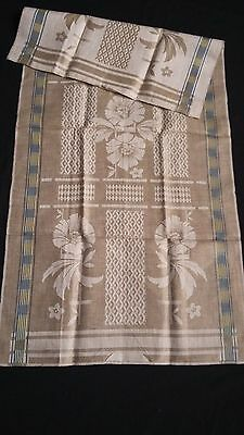 old linen kitchen Runner ecru with blue and yellow  stripes +  flowers