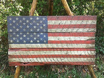American Flag On Barn Wood, 18x31 Rustic Distressed Folk Art Flag