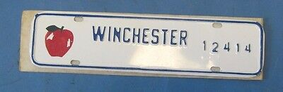 undated Winchester License plate with Red Apple never used mint