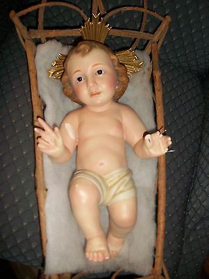 "Rare Olot Infant Jesus - Made in Spain - 17 "" - Glass Eyes - needs restoration"