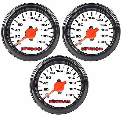 "Three Air Gauges Dual & Single Needle 200psi Air Ride Suspension System 2"" White"