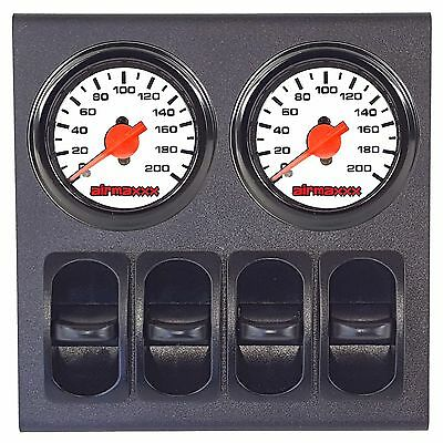 2 Dual Needle White Air Gauges & 200psi Display Panel with 4 Paddle Switches