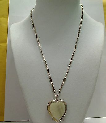 """Vintage Goldtone Faux Mother of Pearl Heart Locket Necklace, 18"""" Chain"""