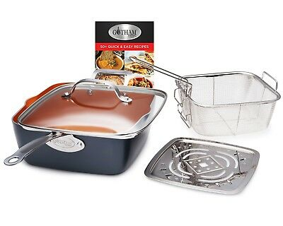 Gotham Steel Ti-Cerama Copper Deep Square 9.5 Frying Pan w Lid - 5 Colors - NEW!