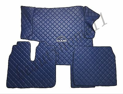 Set of LHD Floor Mats Cover For MAN TGX 400/440 2010-2014 BLUE Eco Leather.