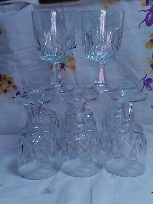 Eight Arcoroc France Water Goblets Stems Glasses ARTIC Pattern ~ Signed